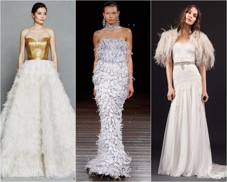 Модные свадебные платья весна-2017: с перьями