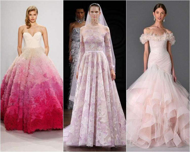 Модные свадебные платья весна-2017: розовые