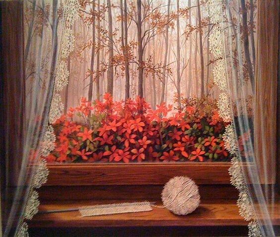 На окне колышет занавеску ветер в гости осень приглашает Художник .Gunseli Kapucu