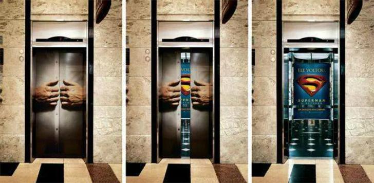 А это — лифт Супермен. Двери лифтов можно успешно использовать для интересных рекламных ходов.