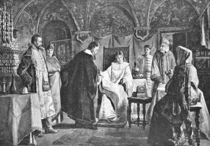 Гравюра. Мария Хлопова, будущая невеста царя Михаила Федоровича.  Остальных финалисток разб
