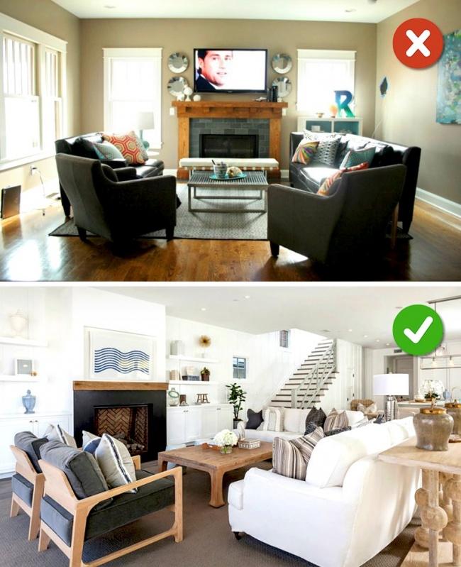 © homester  Ваша гостиная станет визуально более приземистой итесной, если выприобретете меб