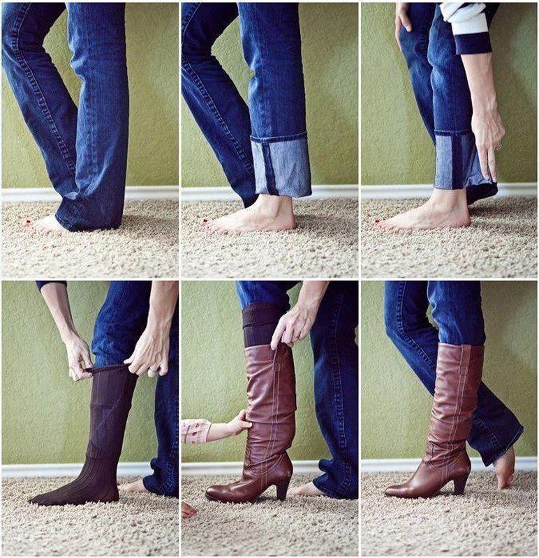 Необтягивающие джинсы можно легко заправить в сапоги. Вот так!