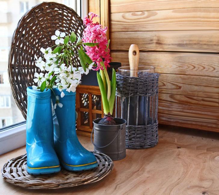 Резиновые сапоги для вашей любимой петунии Эти старые резиновые сапоги — идеальное место для посадки