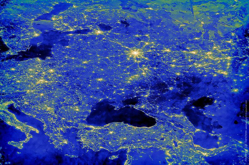 Центральная Европа ночные огни декабрь 2015