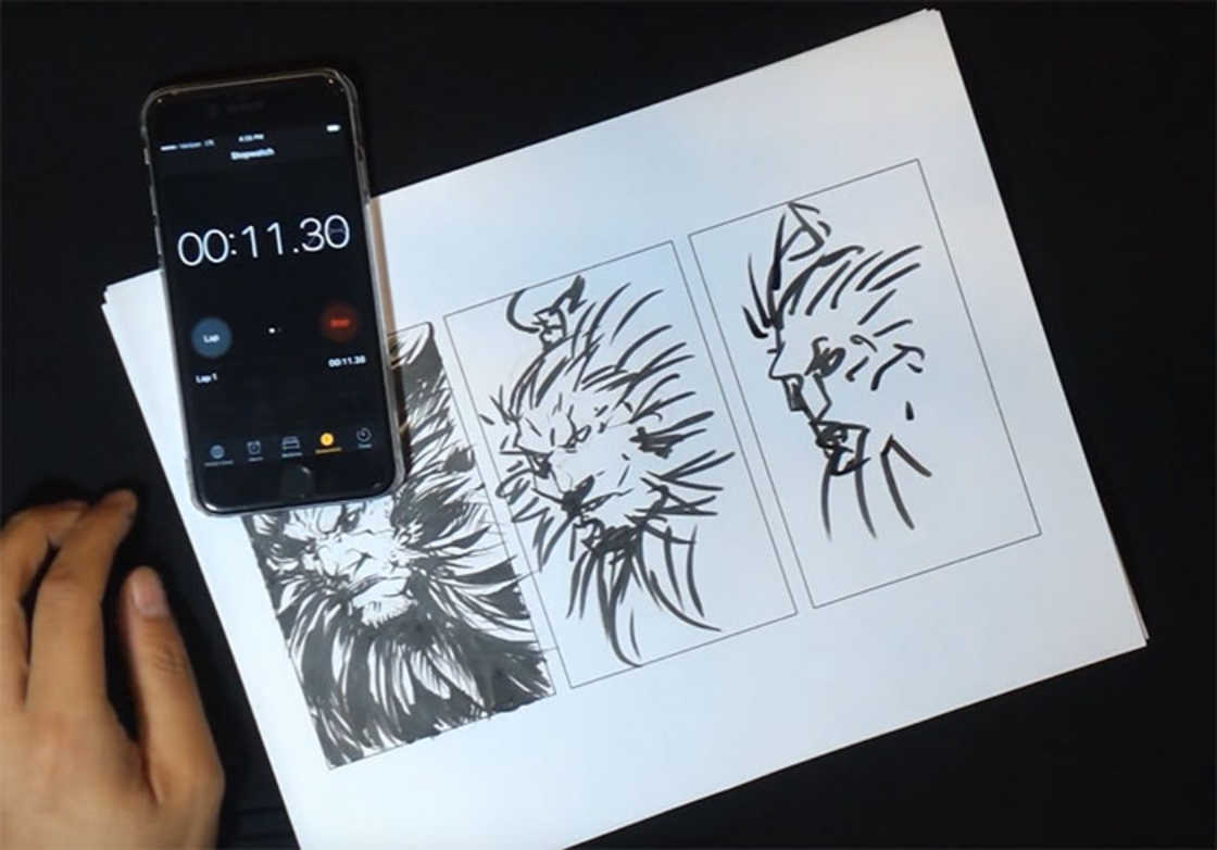 Speed Drawing - Realiser le meme dessin en 10 minutes, 1 minute et 10 secondes