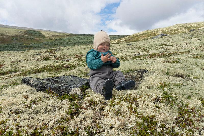 поход с ребенком (1 год) по тундре в Норвегии
