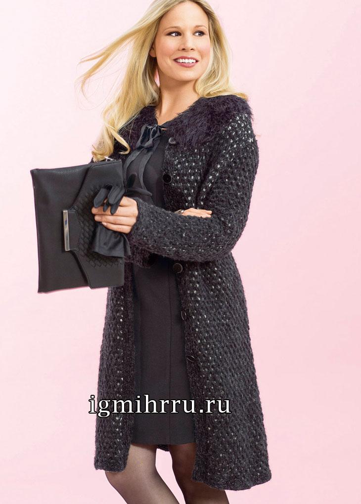 Большие размеры. Элегантное черное пальто со съемным воротником. Вязание спицами