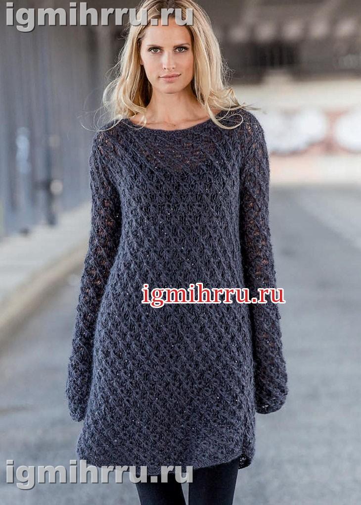 Платье цвета антрацита с фантазийным узором. Вязание спицами