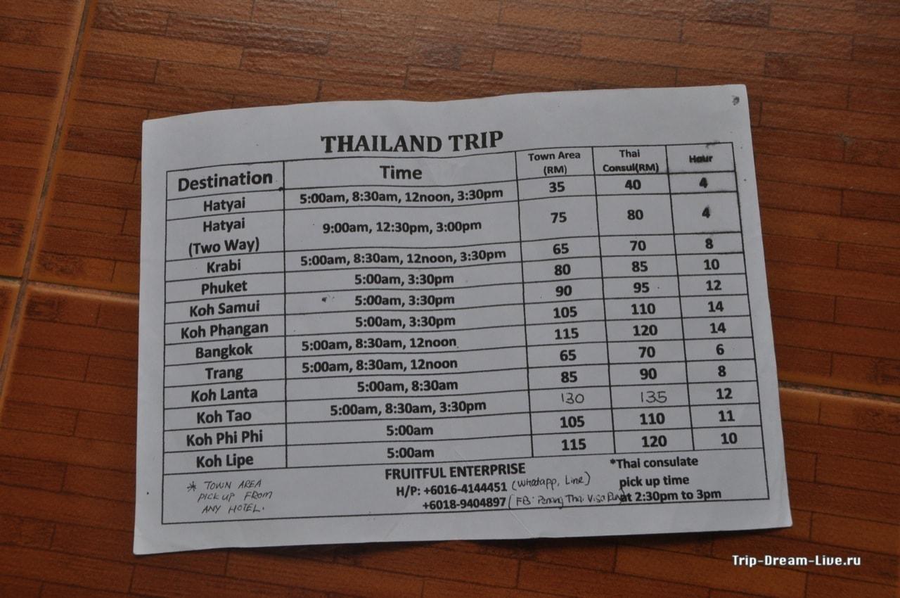 Расценки на трансфер в разные уголки Таиланда