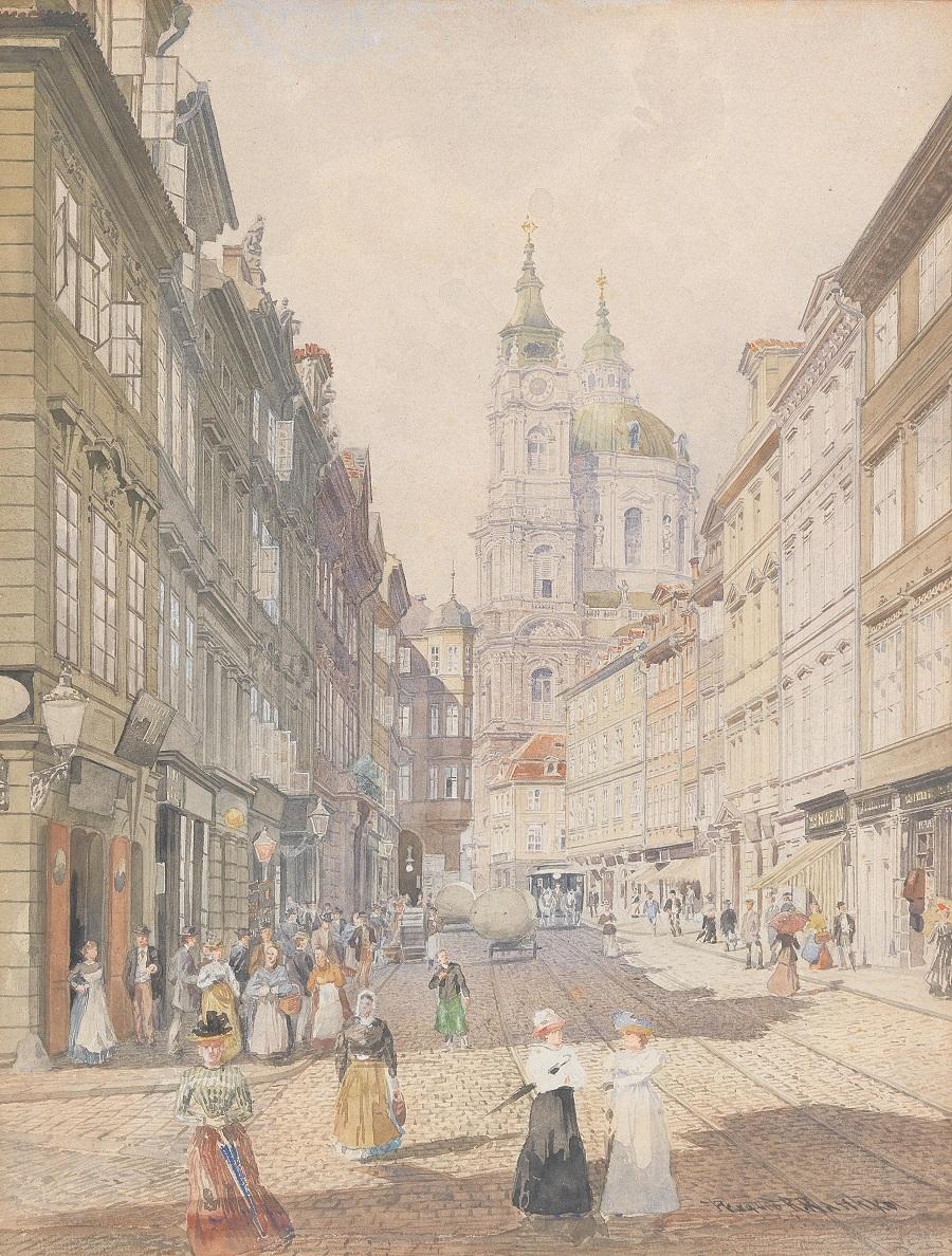 Robert Raschka(Bukarest 1847-1908 Wien) Blick auf St. Nikolaus auf der Kleinseite in Prag