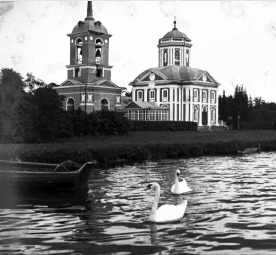 1910. Лебеди на Дворцовом пруду в усадьбе Кусково