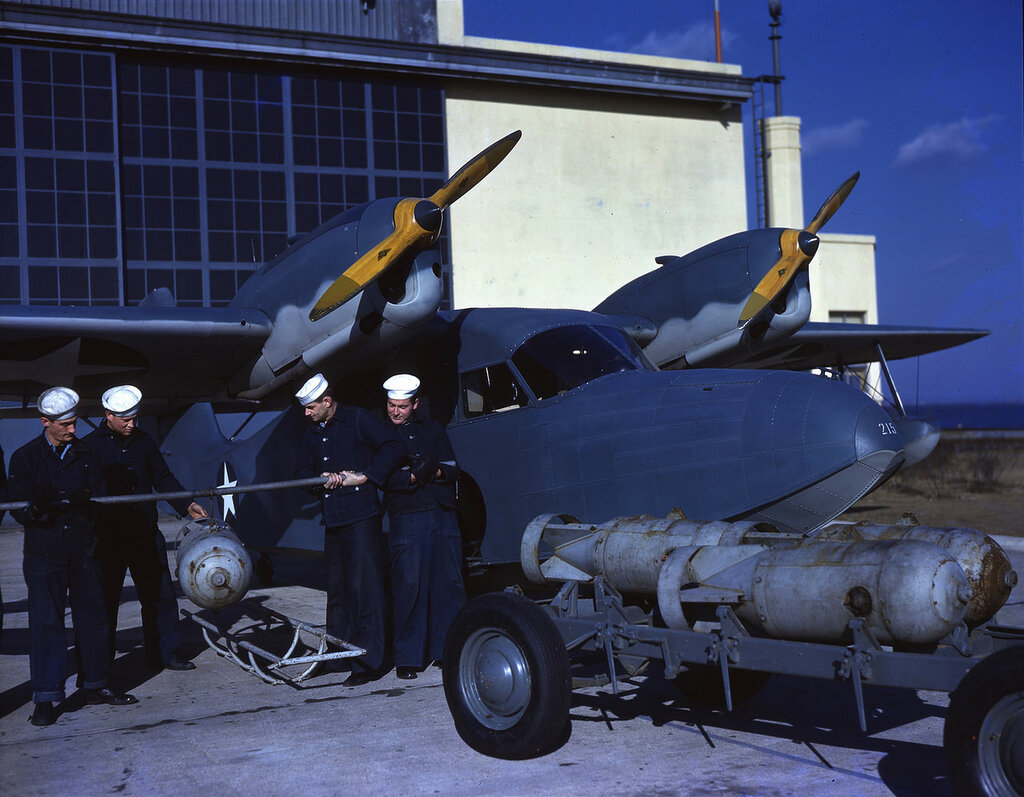 U. S. Coast Guard Grumman J4F-1 Widgeon (USCG sn V215) having depth charges loaded at Floyd Bennett Field, N.Y., ca. 1943.