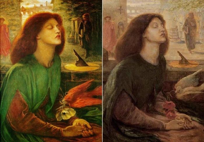 Данте Габриэль Россетти. Слева – Блаженная Беатриче, 1864-1870. Справа – Блаженная Беатриче (вто