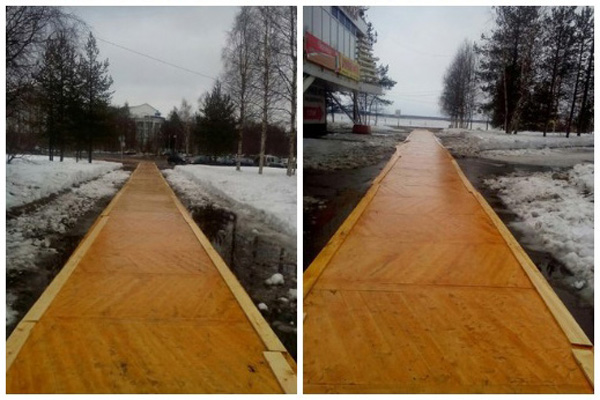 ВАрхангельске власти кприезду В.Путина застелили набережную паркетом