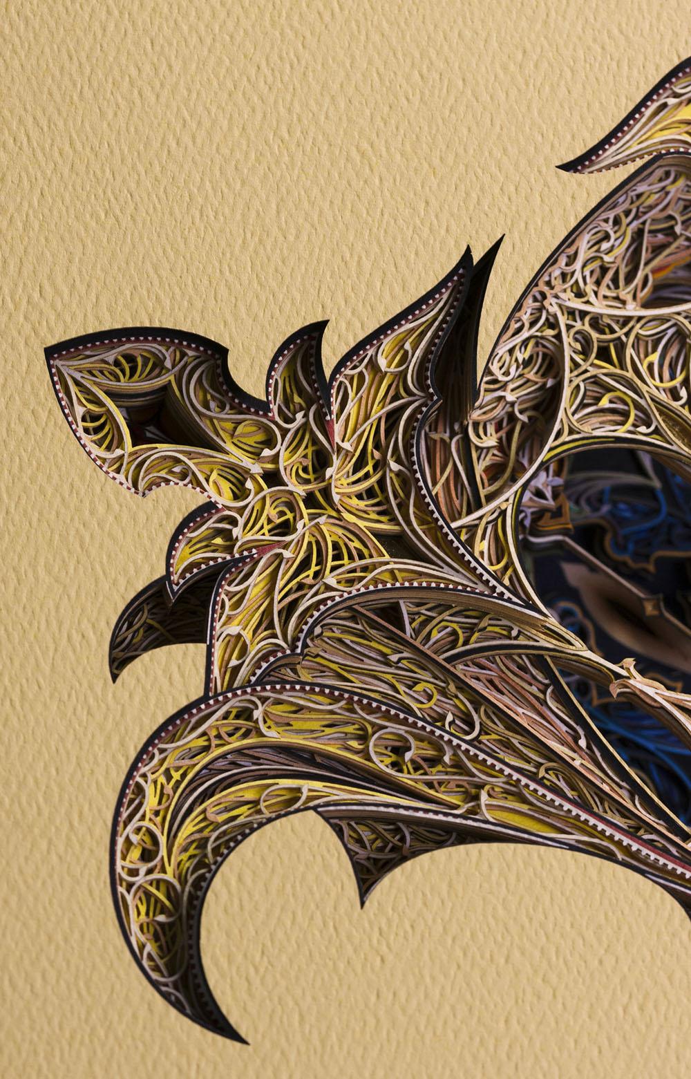 Phidala, detail. Cut paper, gold leaf, 24″ x 30″, 2017.