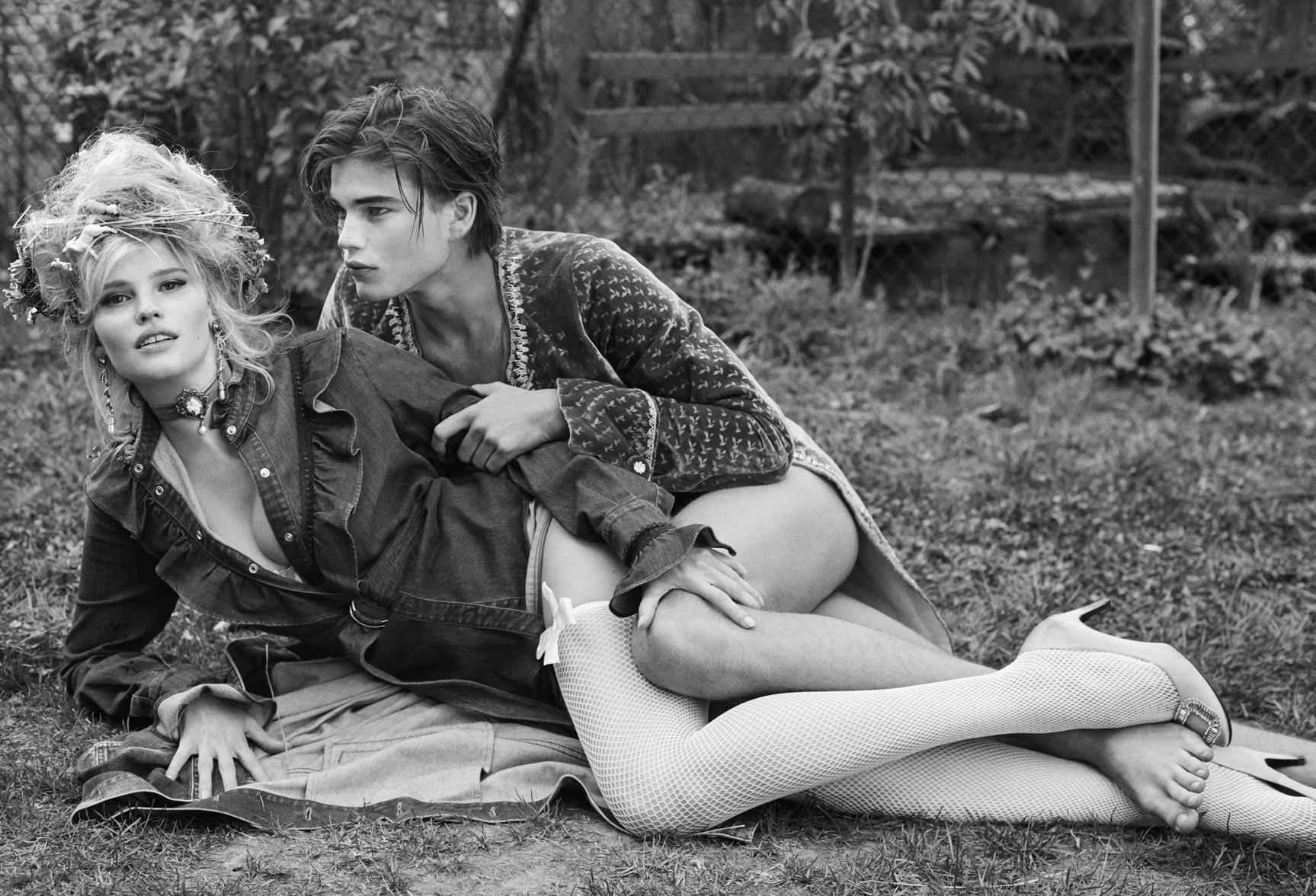 домашние животные и Лара Стоун / Lara Stone & Jordan Barrétt by Sebastian Faena - CR Fashion Book #9 fall/winter 2016