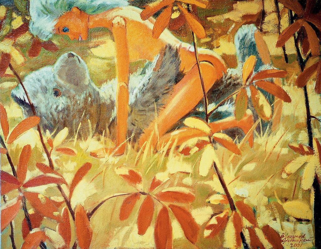 Виноградов Дубосарский Мишка и Барби (Осень) 2002.jpg