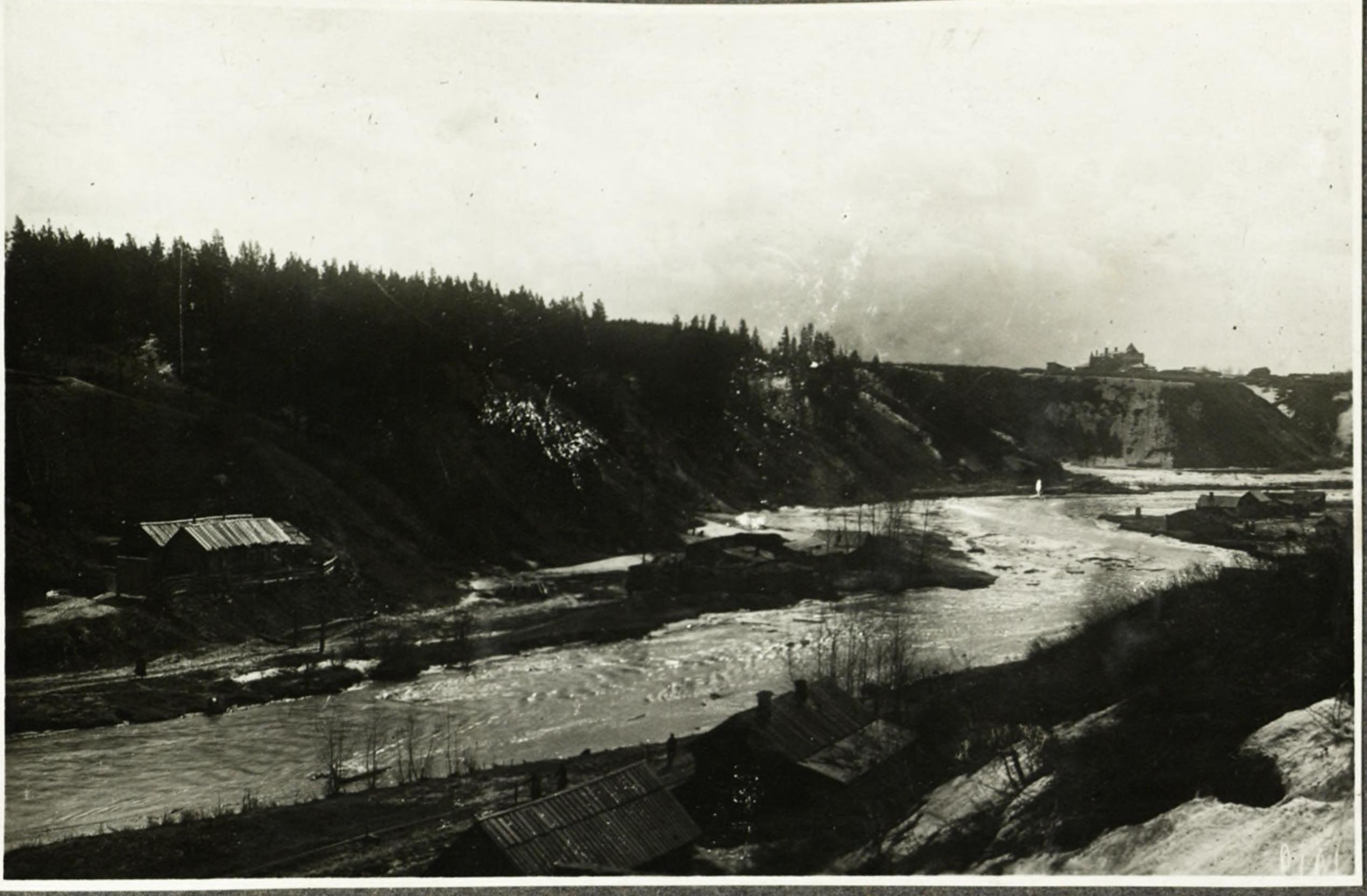 Река Каменка возле моста и сада (1914)