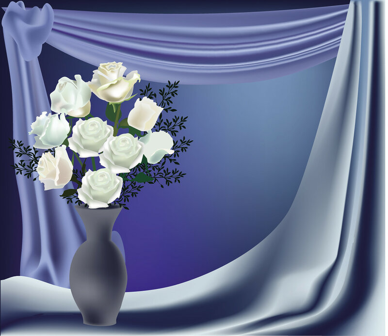 drapery-blue-bunch of roses-wt
