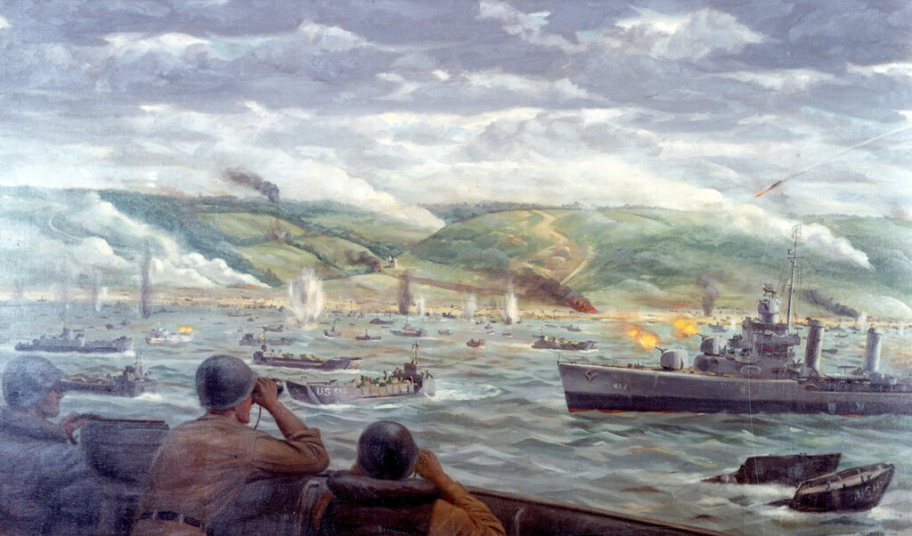 The Battle for Fox Green Beach - Watercolor by Navy Combat Artist Dwight Shepler, 1944, showing USS Emmons (DD-457) bombarding in support of the Omaha Beach landings.