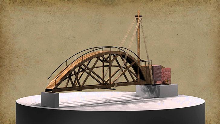 Вращающийся мост. Будучи поклонником быстрого передвижения, да Винчи считал, что его вращающийся мос