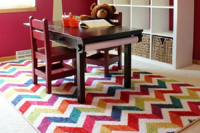 2. Шикарная радуга Яркий радужный коврик для прекрасной комнаты с отличным интерьером.