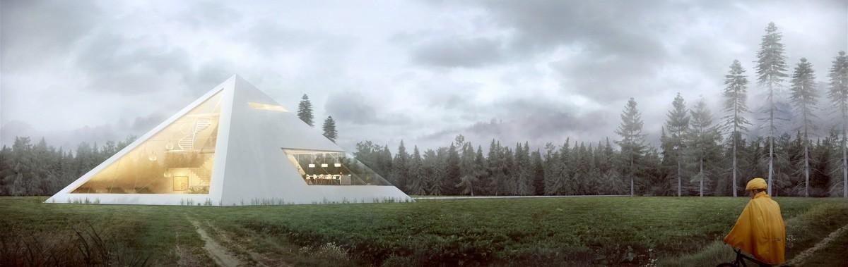Дом имеет огромные окна, которые визуально облегчают конструкцию и беспрепятственно пропускают естес