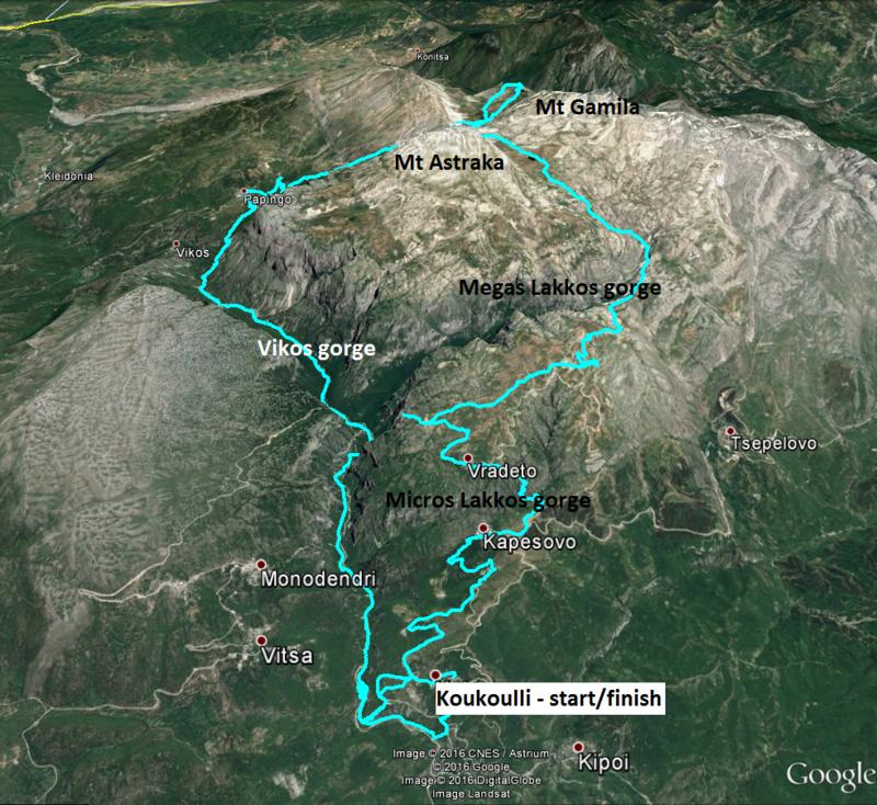 схема маршрута пешего похода по горам Северный Пинд, греция
