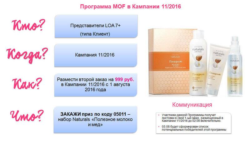 Программа MOF в Кампании 11 2016