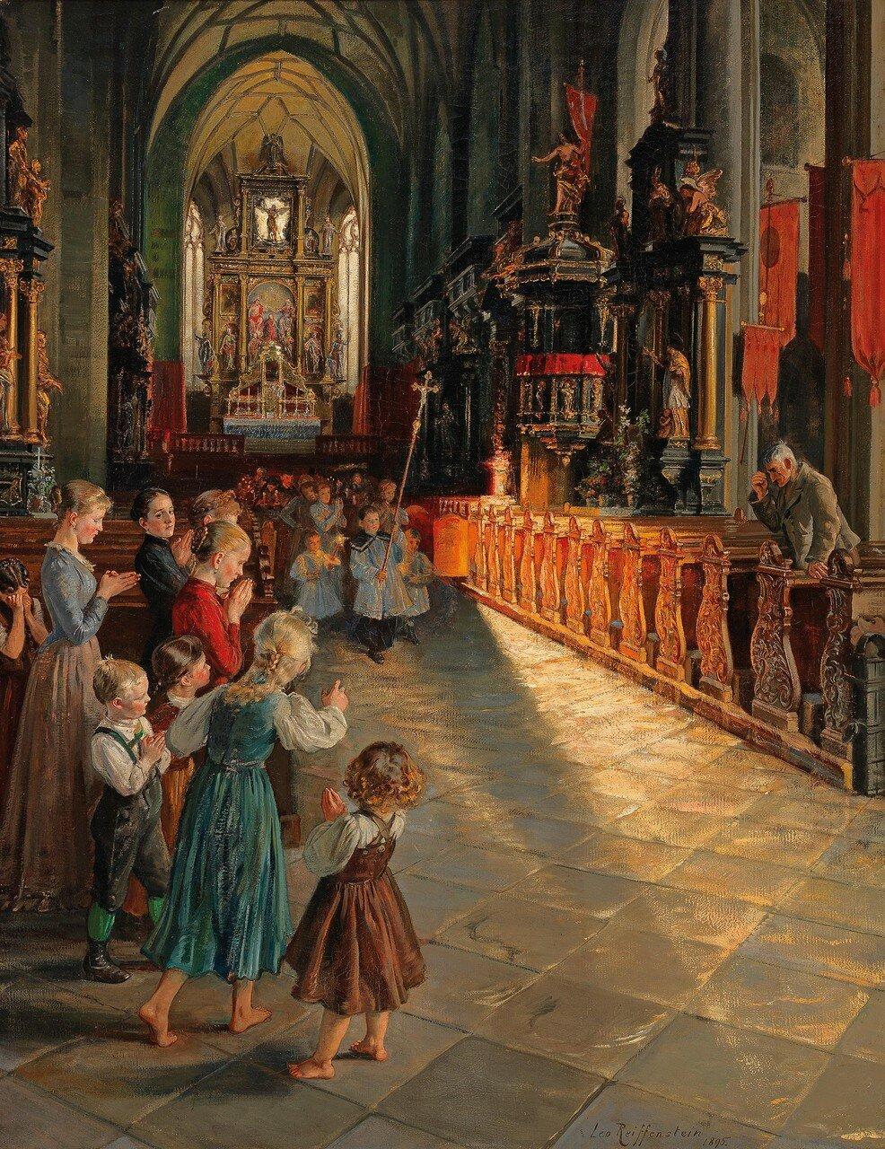 """Leo Reiffenstein(Wien 1856–1924 Salzburg)""""Inneres der Kirche zu Mondsee"""""""