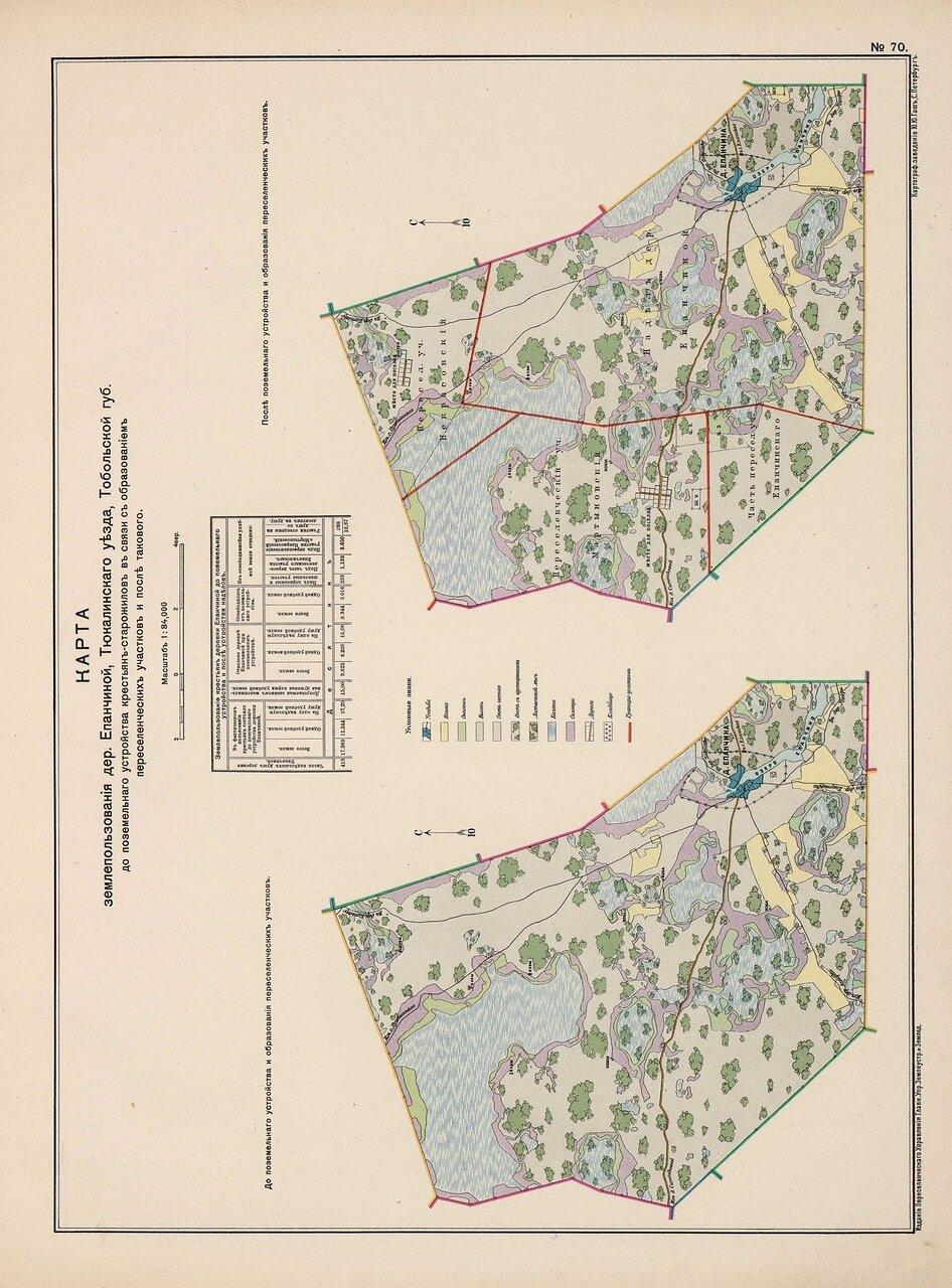 64. Карта землепользования кдеревни Епанчиной Тюкалинского уезда Тобольской губернии