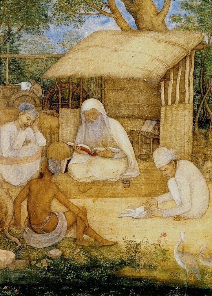 Говардхан. Астролог и монахи-отшельники. Лист из Позднего альбома Шах Джахана. ок. 1650.jpg