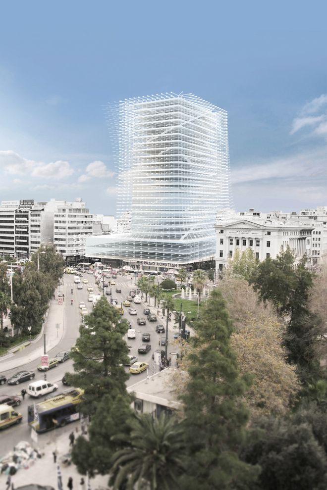 8. Проект реконструкции башни Пирей В 2010 году провели конкурс на новый образ здания. Один из вариа