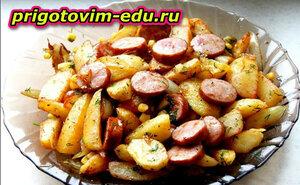 Курица с картофелем и охотничьими колбасками