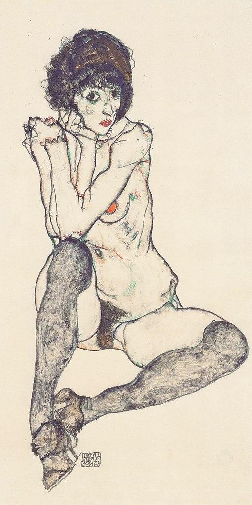 Сидящая обнажённая опёршись на локти. 1914_ Шиле Эгон (1890-1918), Гуашь и карандаш на японской бумаге