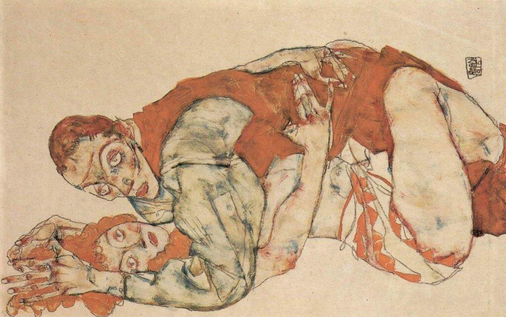 Занятия Любовью (мужчина сверху)1915_ Шиле Эгон (1890-1918)