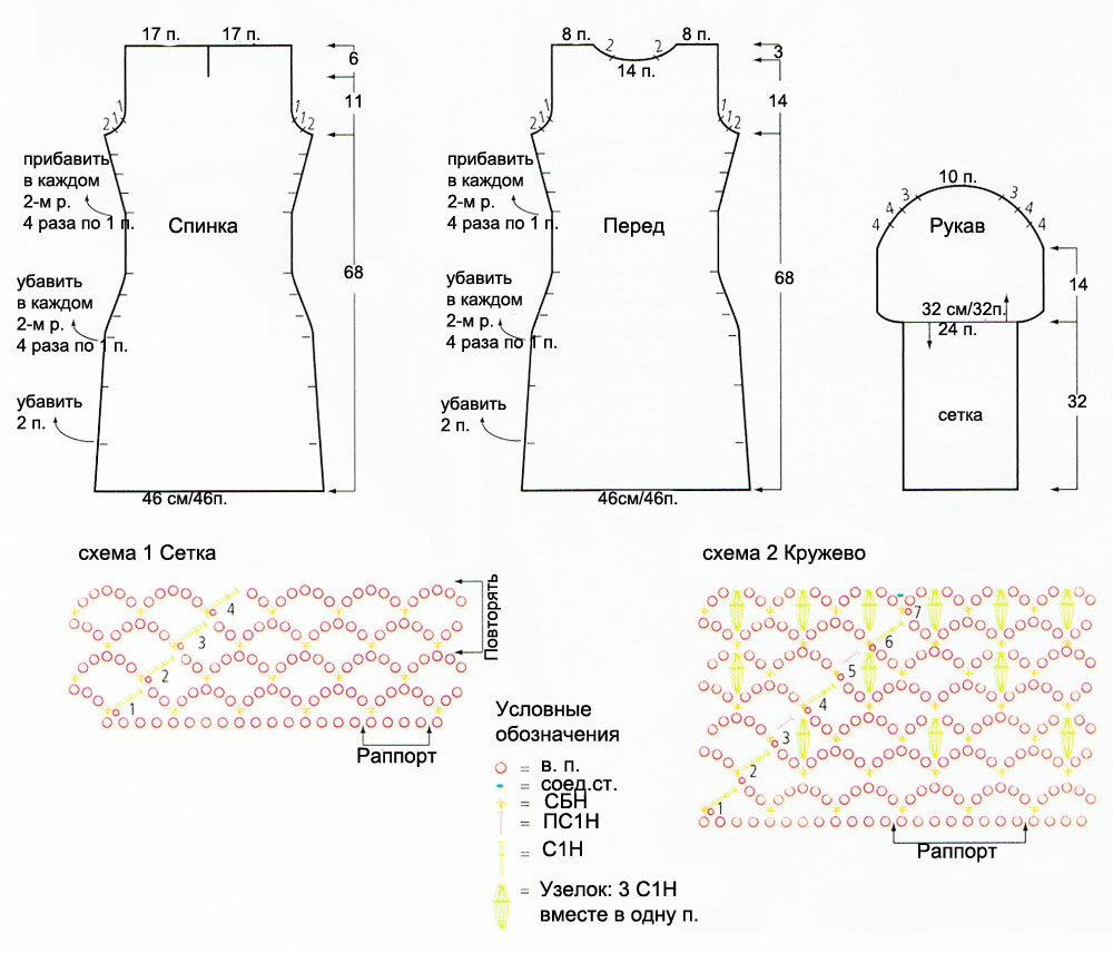 Вязание крючком платья-сетки схемы