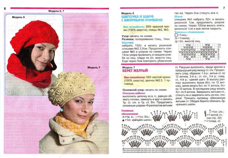 Фото вязанных шапок и схема к ним