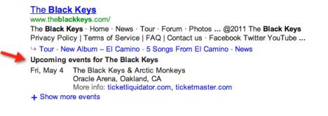 Расписание концертов в поисковой выдаче Google