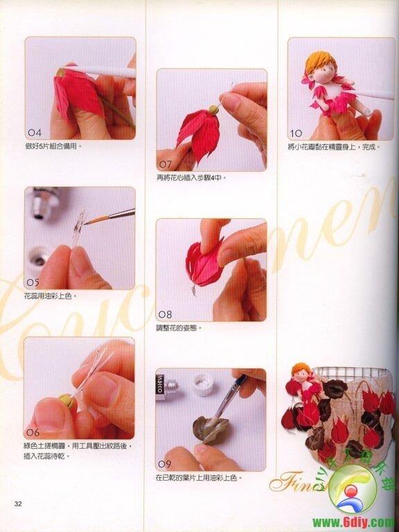 Цветы из полимерной глины с пошаговым