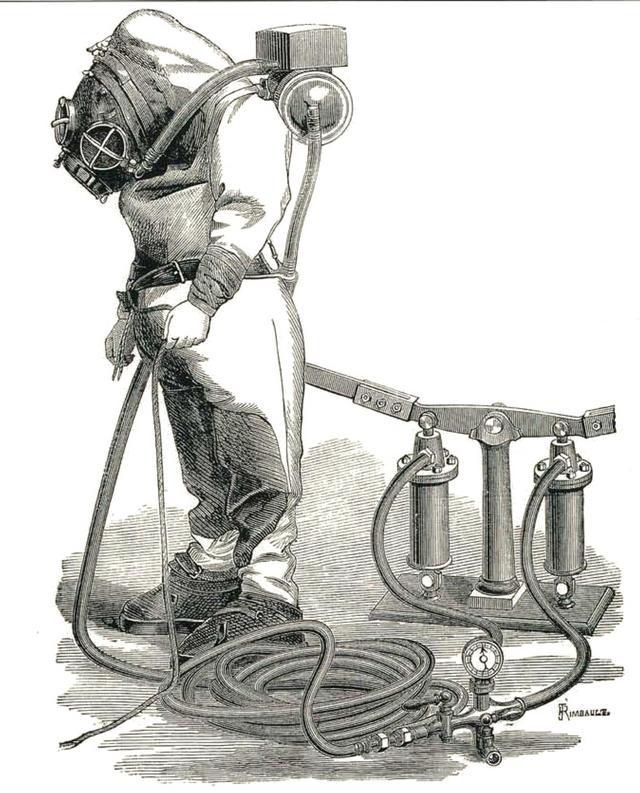 Водолазный скафандр Рукеройля-Денейруза, 1870-е годы
