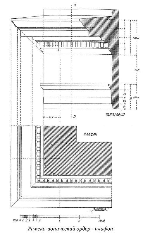 Чертеж плафона римско-ионического ордера