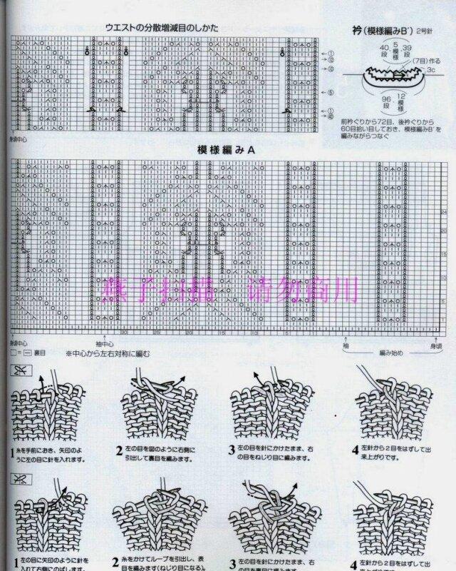 Вязание спицами ажуров японских