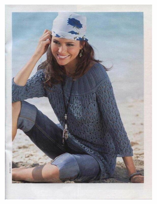 Прекрасный пуловер с ажурным рисунком из листьев связан спицами.  Модель выглядит натурально и женственно благодаря...