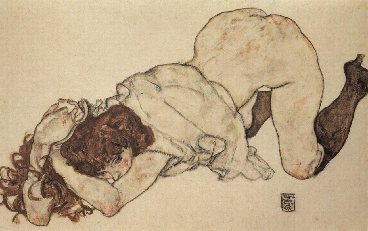 Девушка на коленях опирающаяся на оба локтя., based on both elbows, 1917, Шиле Эгон (1890-1918)