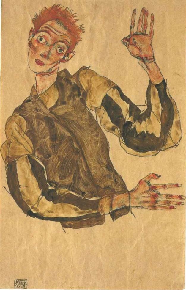 Автопортрет с рукавами, 1915, Шиле Эгон (1890-1918)
