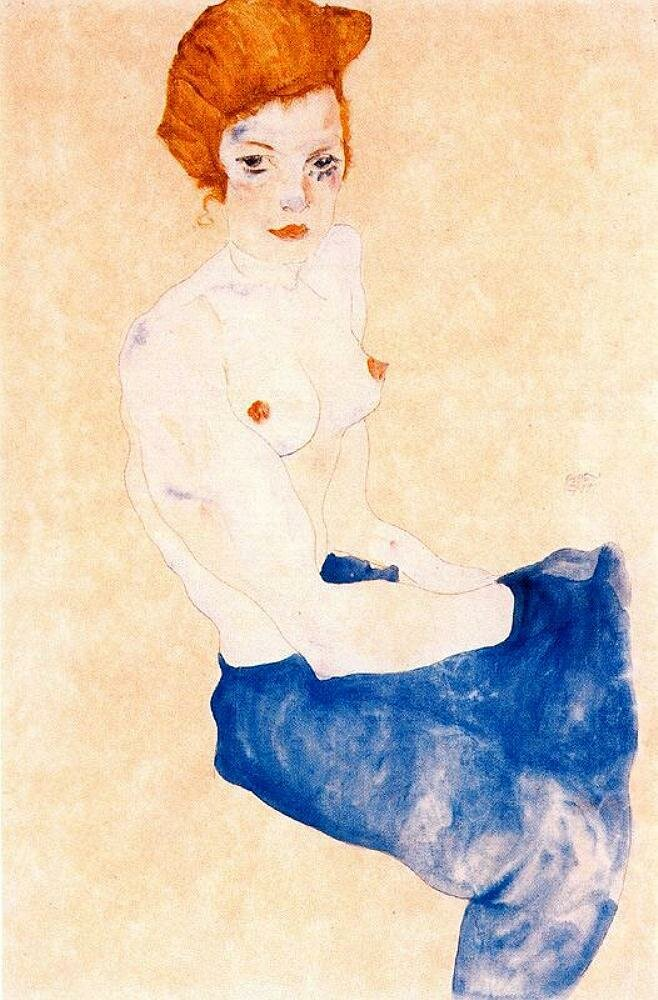Сидящая с обнажённым торсом девушка в голубой юбке,1917_ Шиле Эгон (1890-1918),Акварель и карандаш