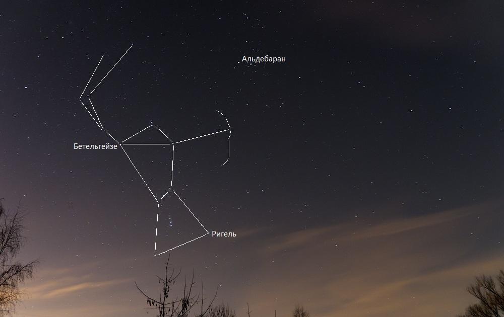 Созвездие Ориона и самые яркие