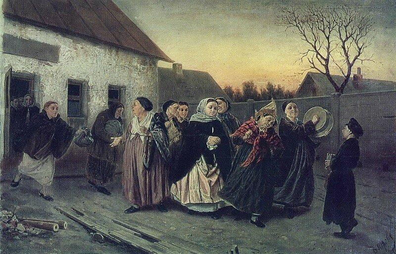 Василий Григорьевич Перов: Накануне девичника. Проводы невесты из бани. 1870 Х. , м. 48х72, 8 КМРИ